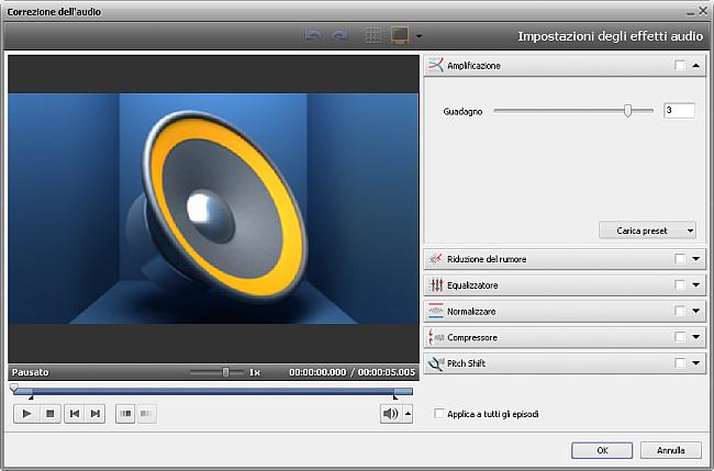 Finestra Correzione audio