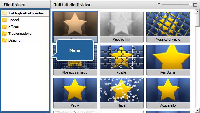 Area File ed effetti - Effetti video
