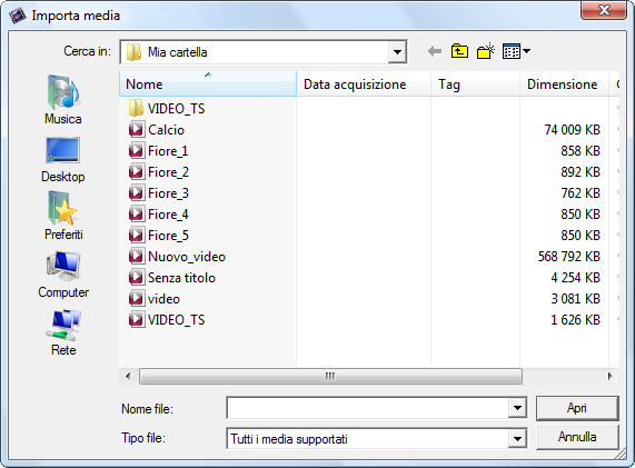 Finestra Importa file multimediali
