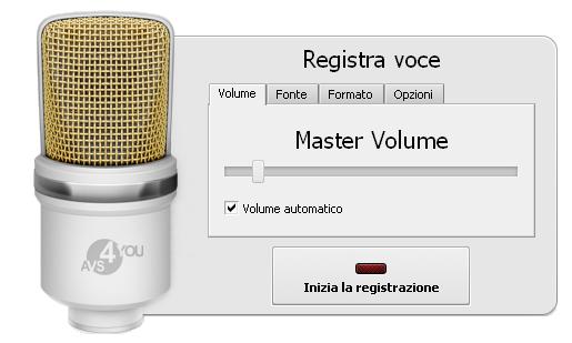 Panello Registra voce