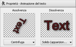 Finestra dei parametri di testo. Animazione