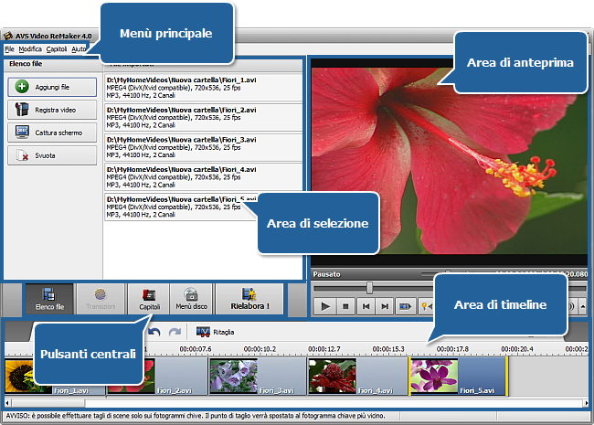 AVS Video ReMaker - Finestra principale