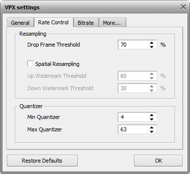 VPX 設定 - レートコントロールのタブ定