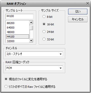 AVS Audio Converer - RAW オプション ウィンドウ