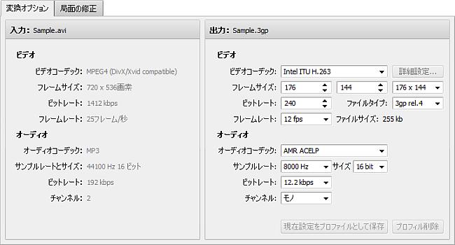 変換オプションタブ - 3GP