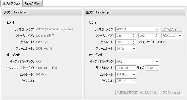 変換オプションタブ - DPG