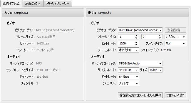 変換オプションタブ - FLV