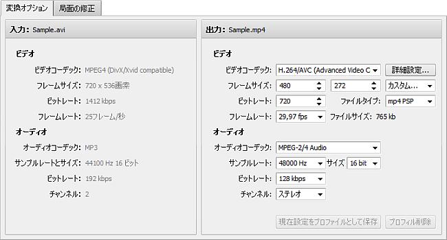 変換オプションタブ - Sony