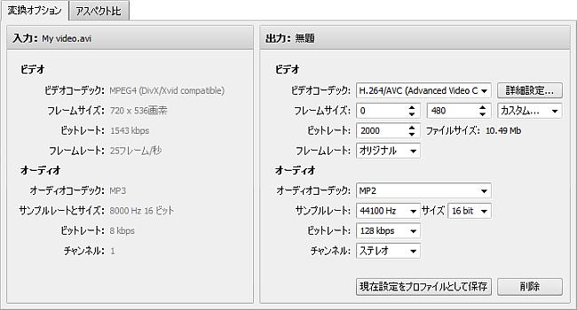 変換オプションタブ - Flickr